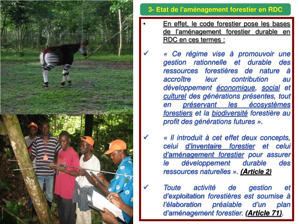 3- Etat de l'aménagement forestier en RDC