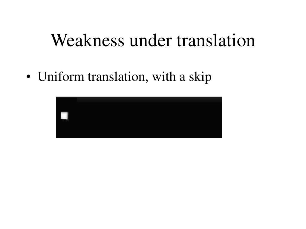 Weakness under translation