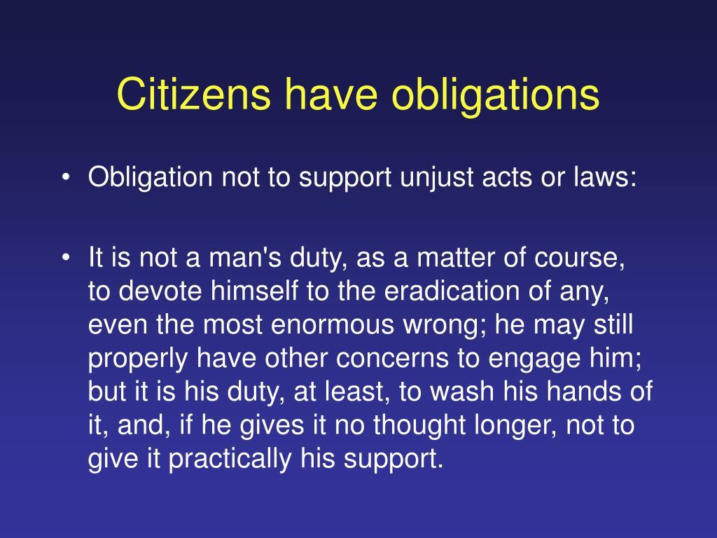 Citizens have obligations