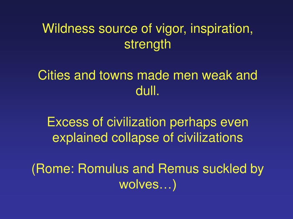 Wildness source of vigor, inspiration, strength