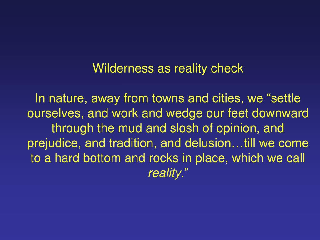 Wilderness as reality check