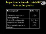 impact sur le taux de rentabilit interne des projets