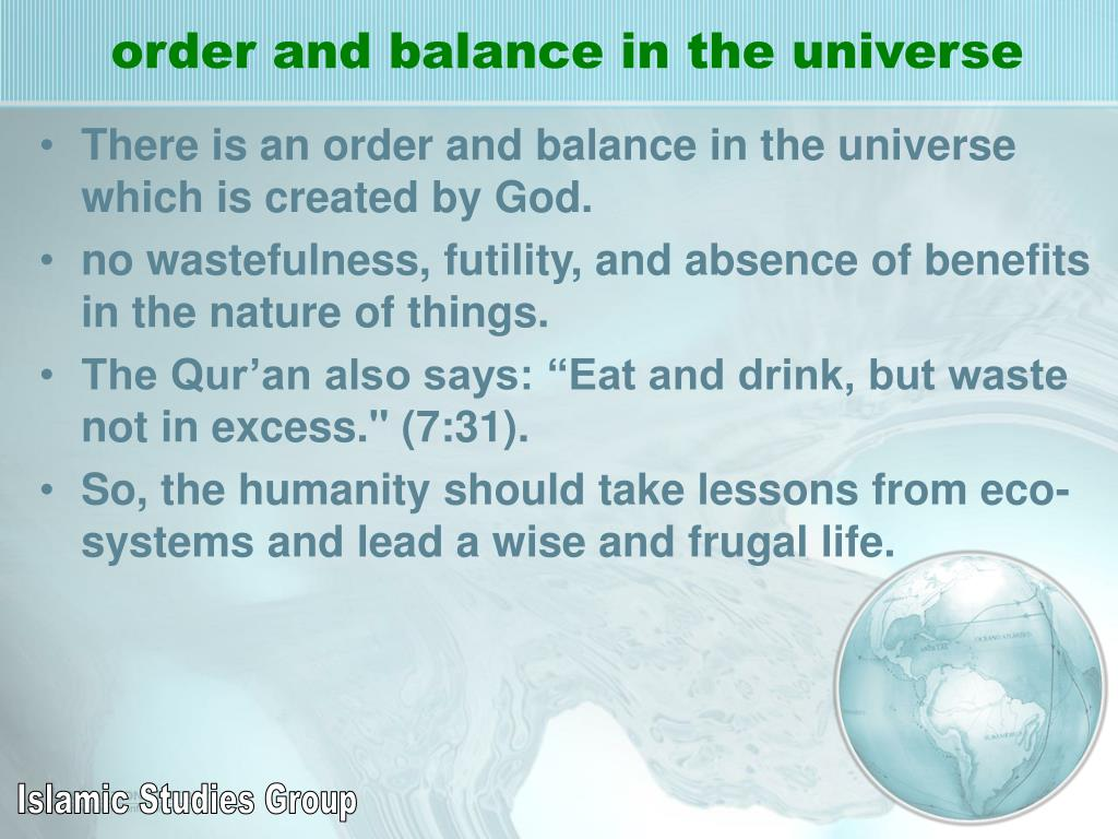 order and balance in the universe