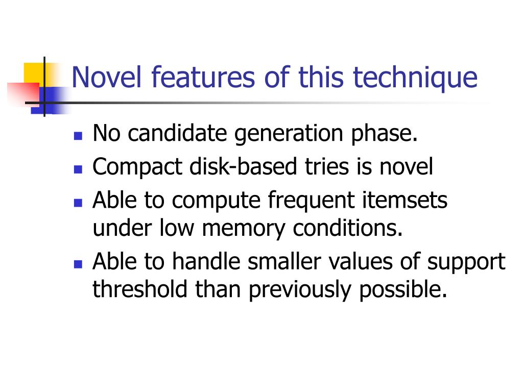 Novel features of this technique