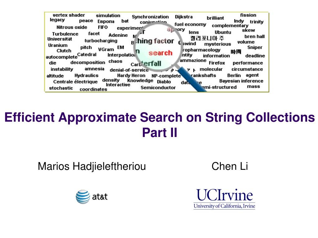 Efficient Approximate Search on String Collections