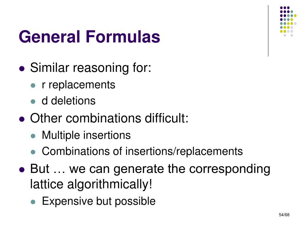 General Formulas