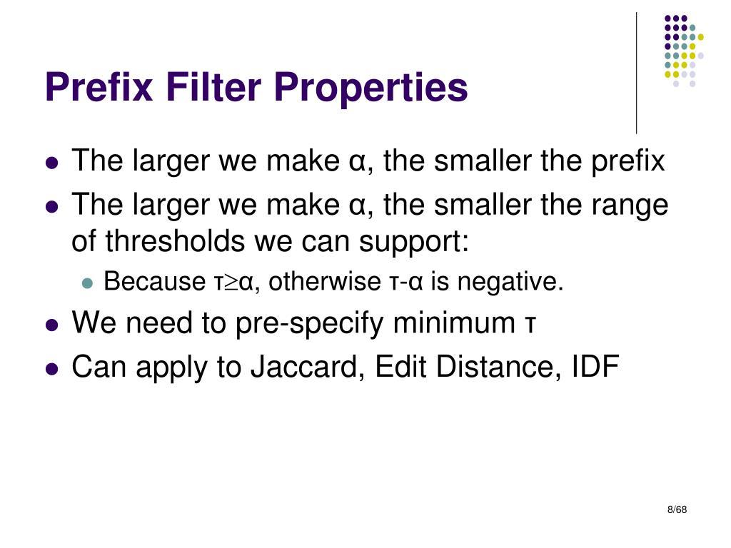 Prefix Filter Properties