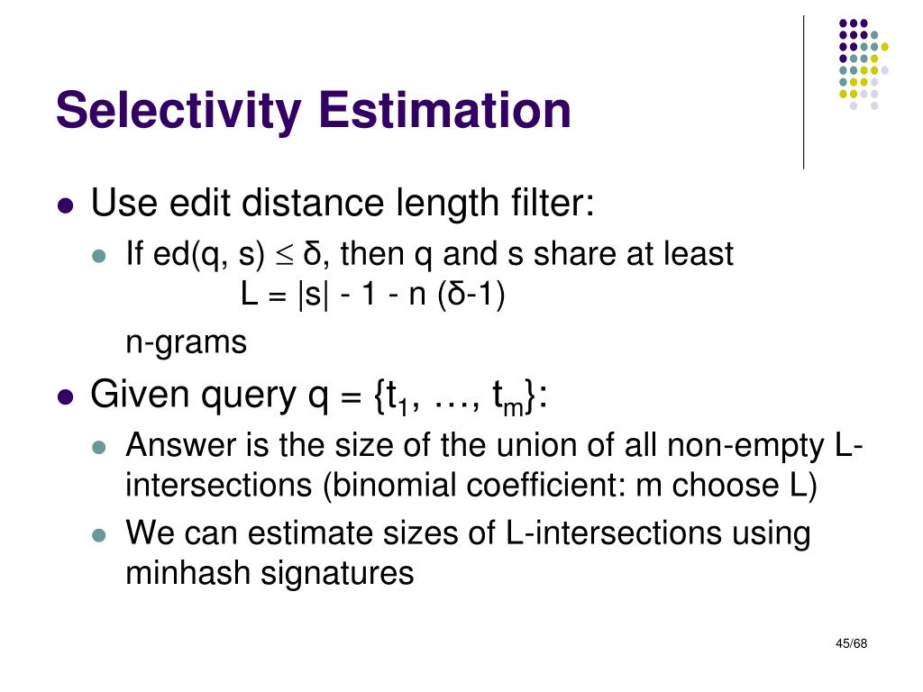 Selectivity Estimation