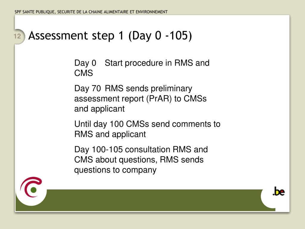 Assessment step 1 (Day 0 -105)