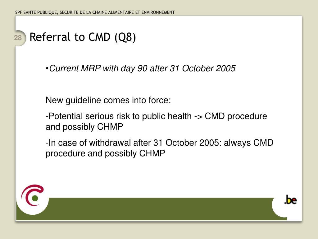 Referral to CMD (Q