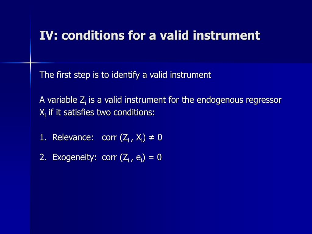 IV: conditions for a valid instrument