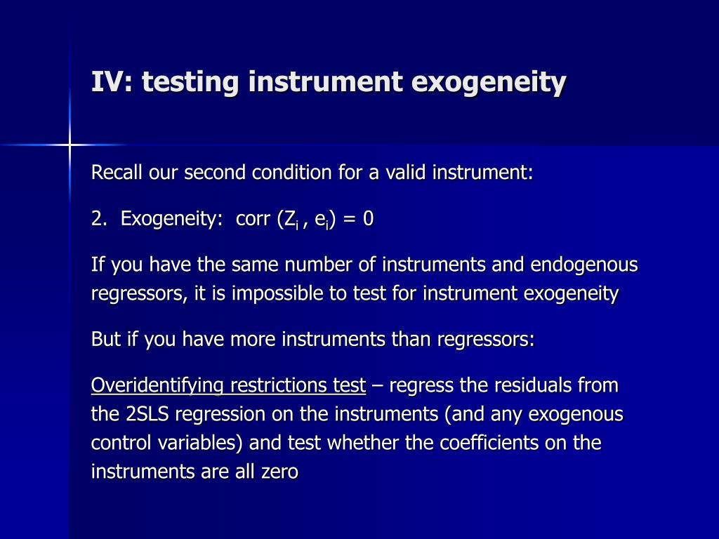 IV: testing instrument exogeneity