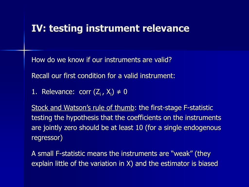 IV: testing instrument relevance