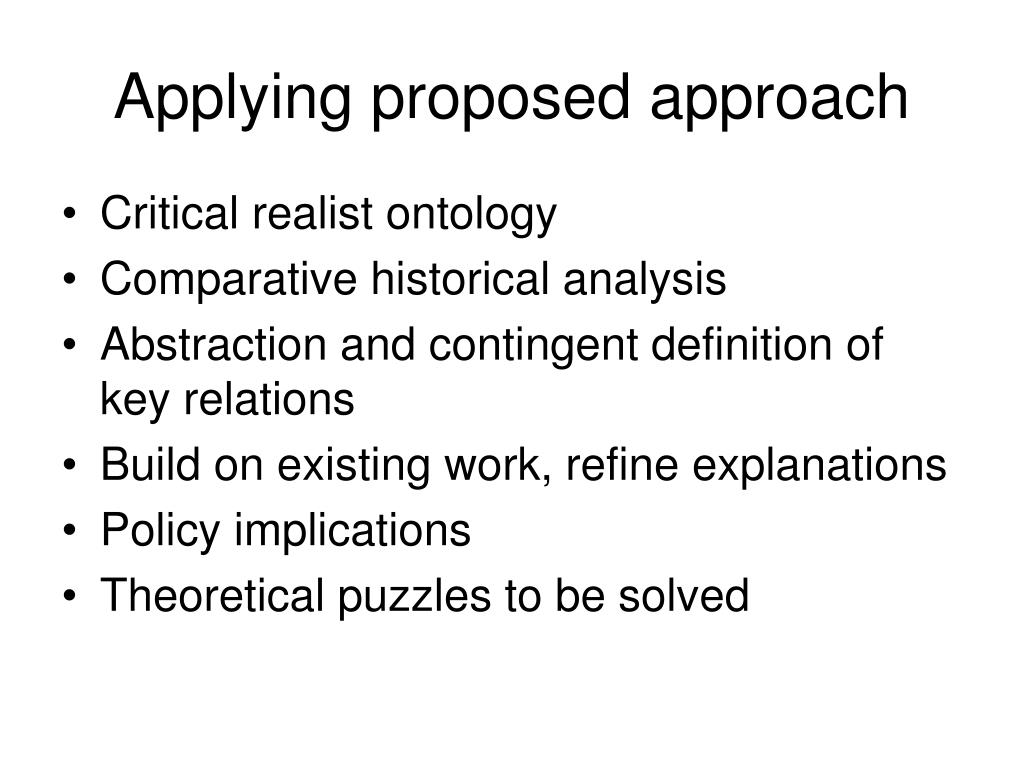 Applying proposed approach