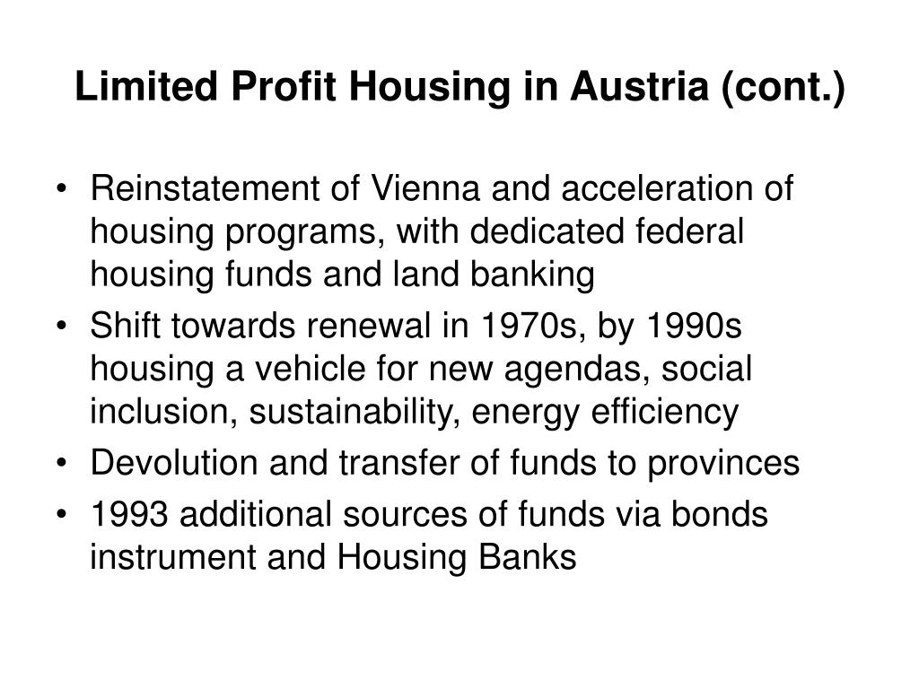 Limited Profit Housing in Austria (cont.)
