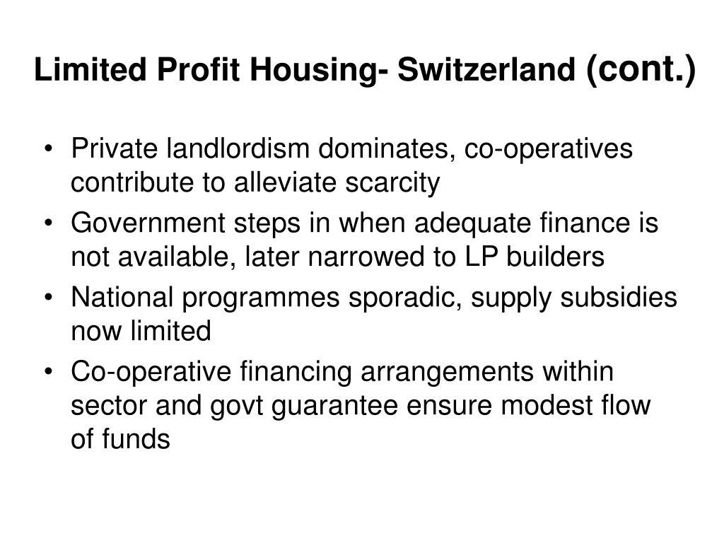 Limited Profit Housing- Switzerland