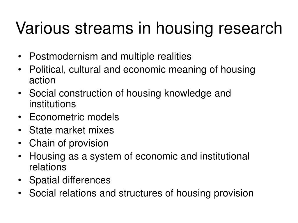 Various streams in housing research