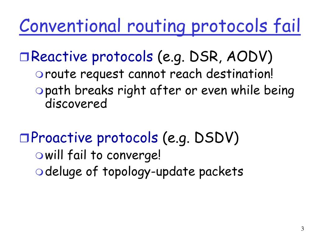 Conventional routing protocols fail