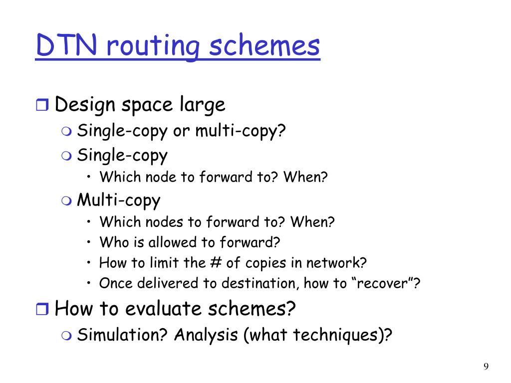 DTN routing schemes