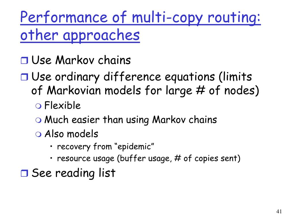 Performance of multi-copy routing: other approaches