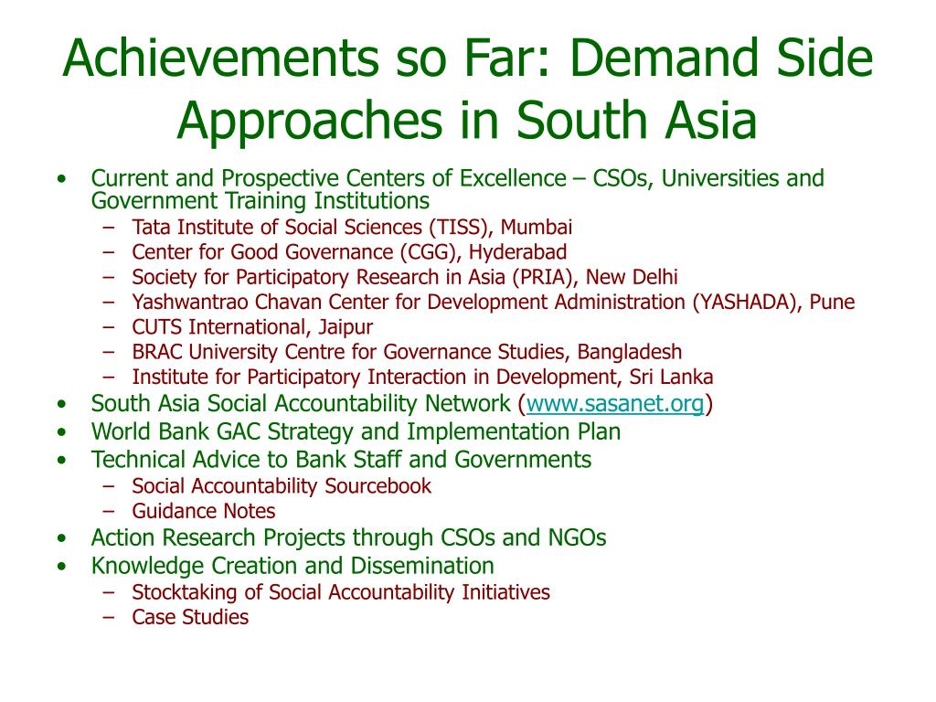 Achievements so Far: Demand Side Approaches in South Asia