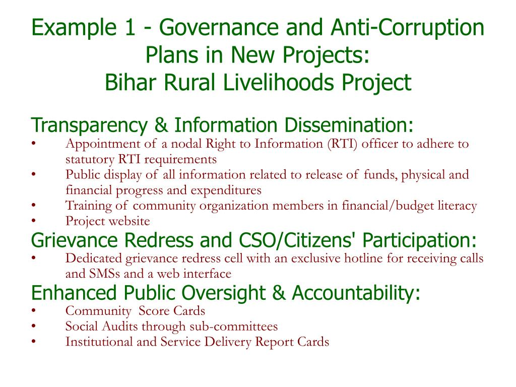 Example 1 - Governance and Anti-Corruption Plans in New Projects:
