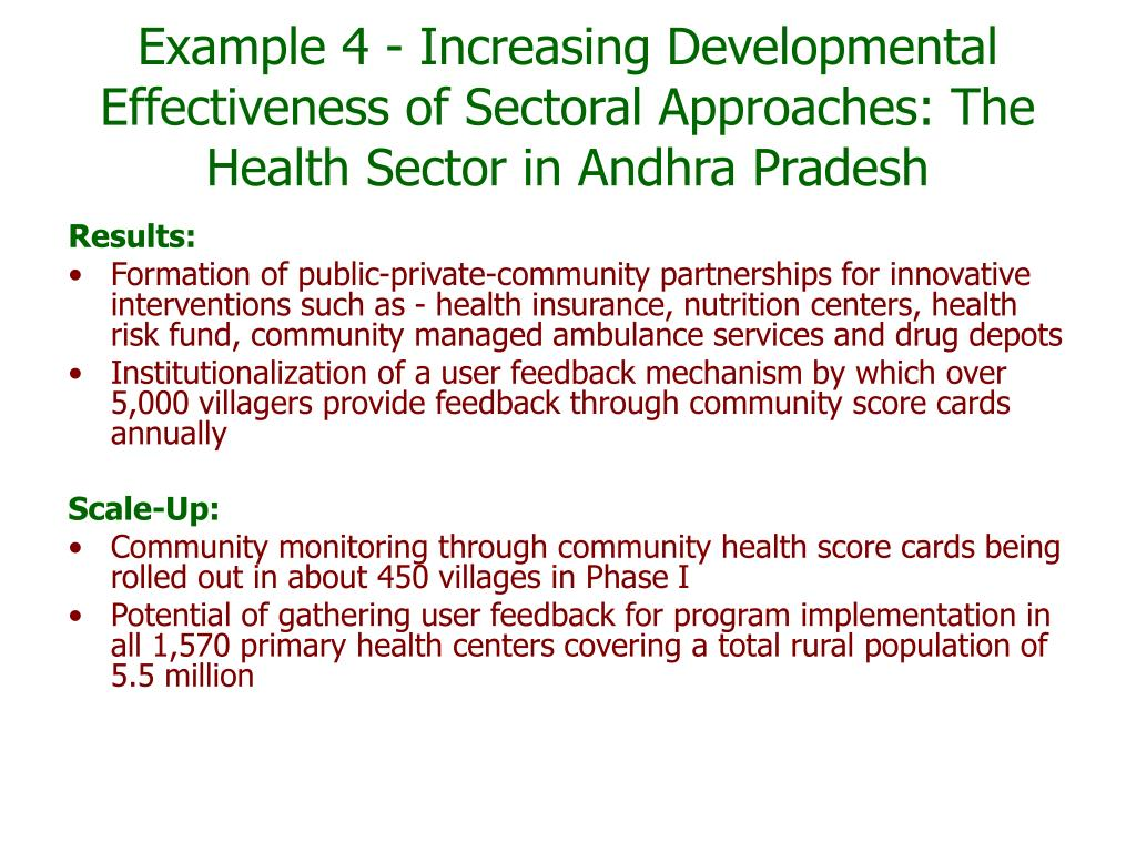 Example 4 - Increasing Developmental Effectiveness of Sectoral Approaches: The Health Sector in Andhra Pradesh
