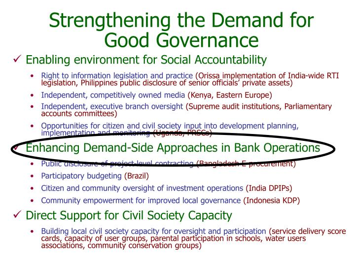 Strengthening the demand for good governance