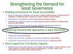 strengthening the demand for good governance