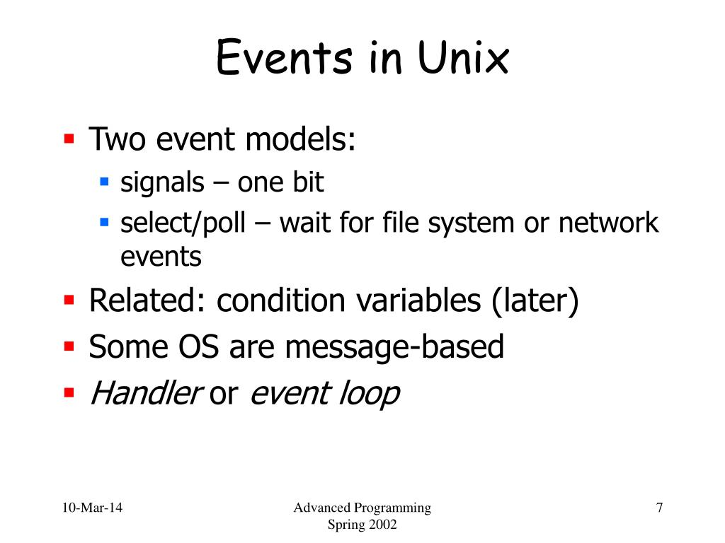 Events in Unix