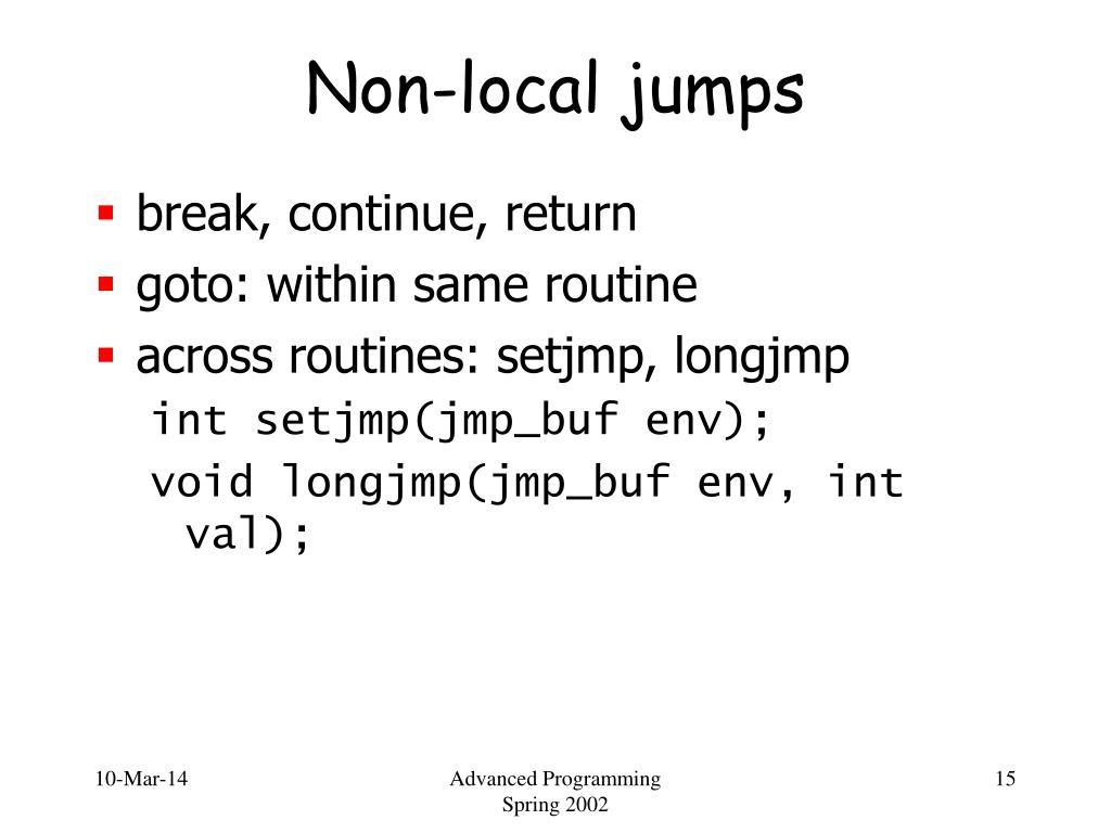 Non-local jumps