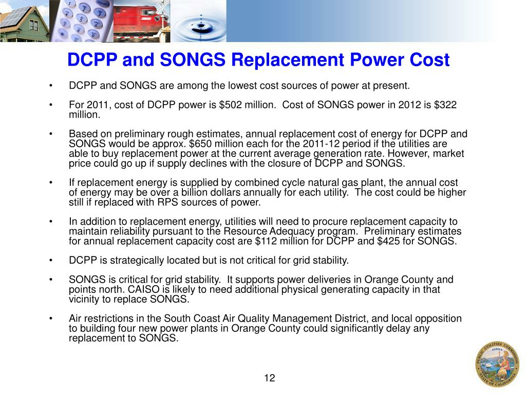 DCPP and SONGS Replacement Power Cost