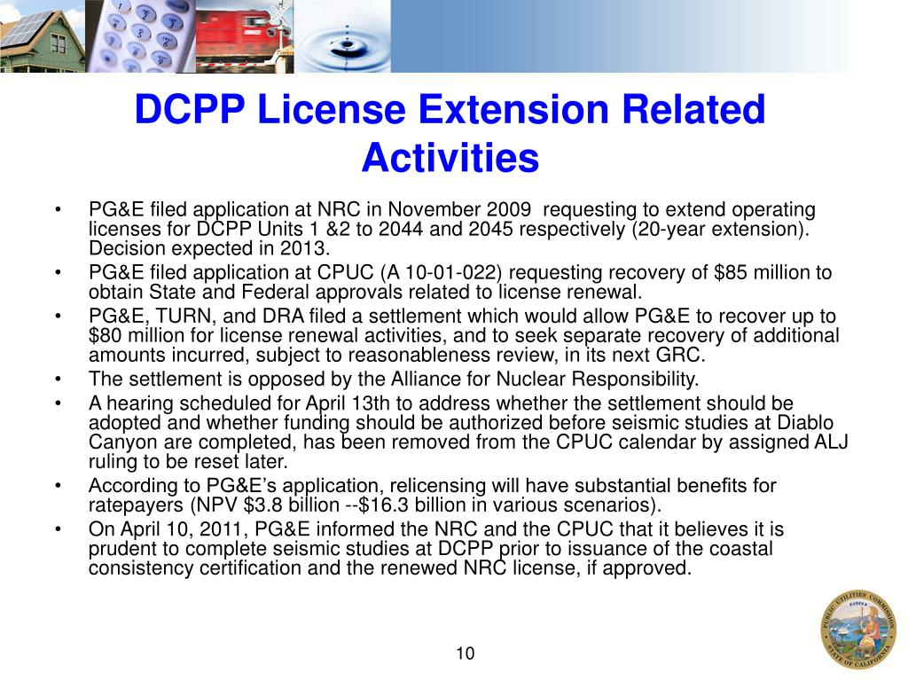 DCPP License Extension Related Activities