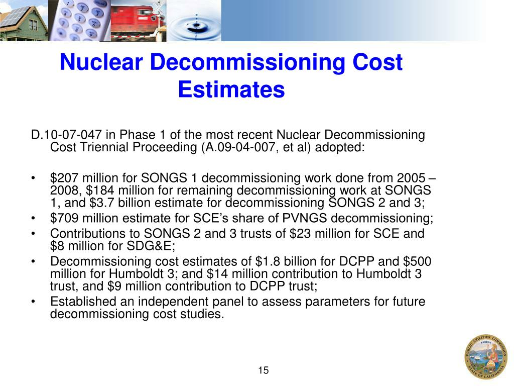 Nuclear Decommissioning Cost Estimates