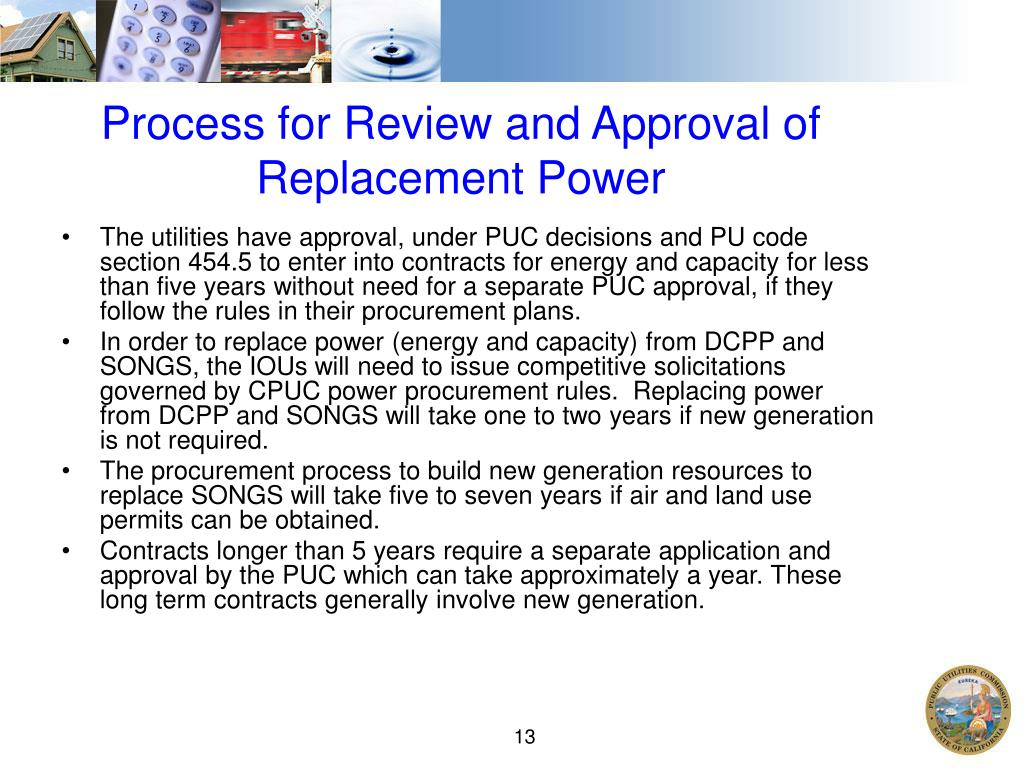 Process for Review and Approval of Replacement Power