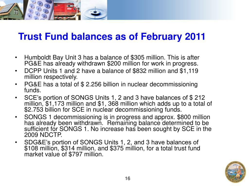 Trust Fund balances as of February 2011