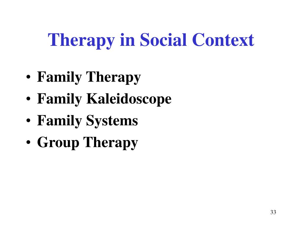 Therapy in Social Context