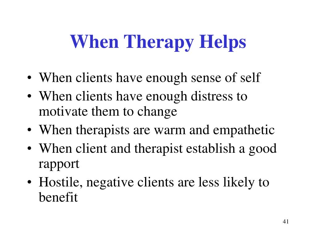 When Therapy Helps