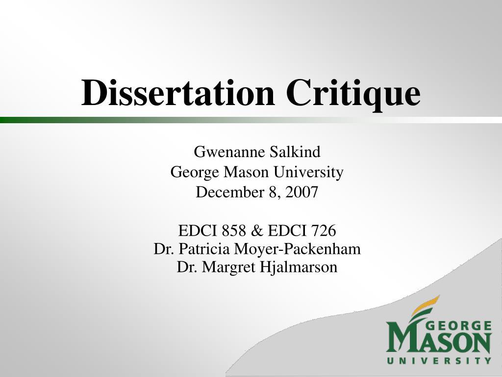Dissertation Critique