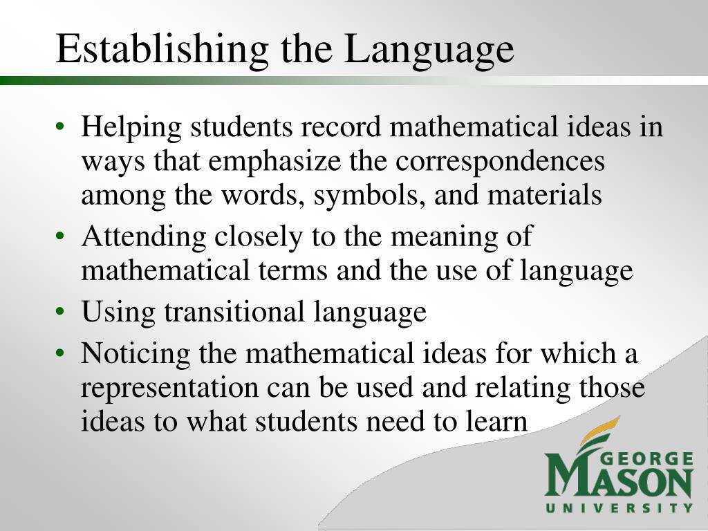 Establishing the Language