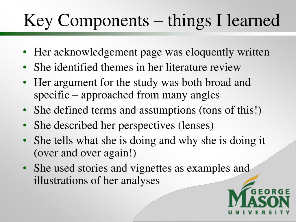 Key Components – things I learned