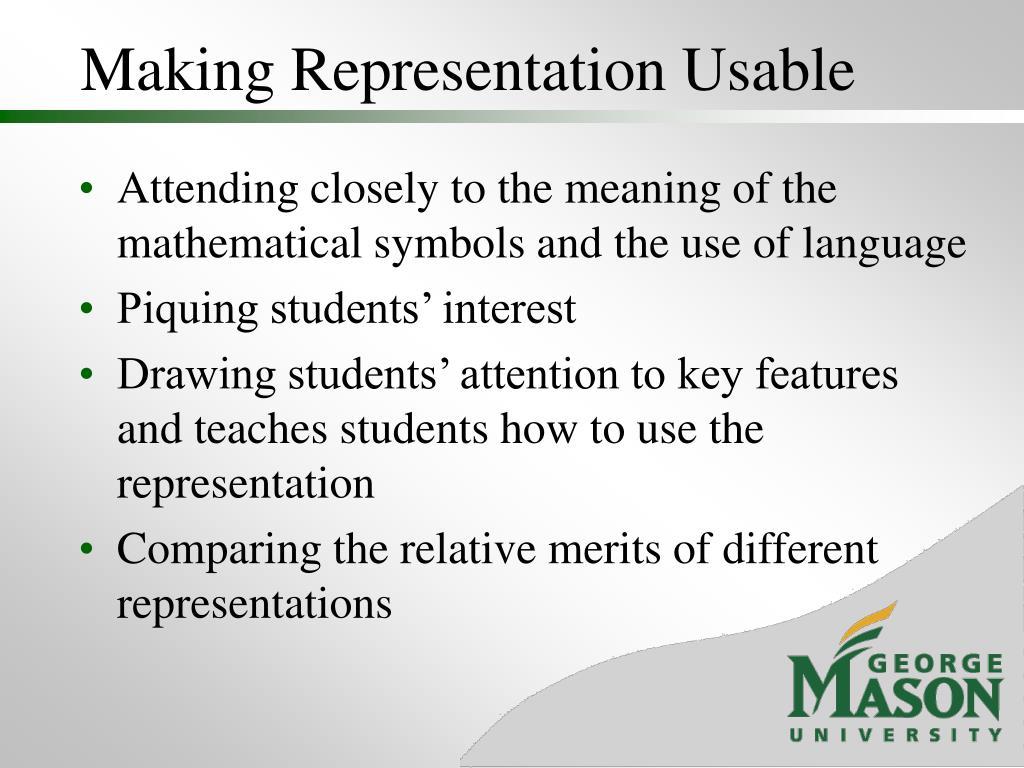 Making Representation Usable