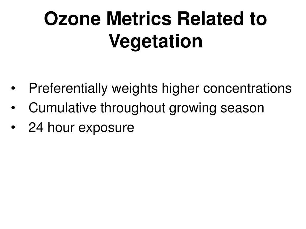 Ozone Metrics Related to Vegetation