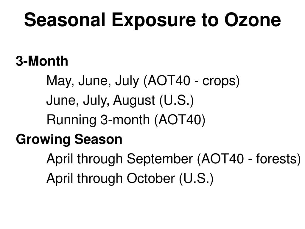 Seasonal Exposure to Ozone
