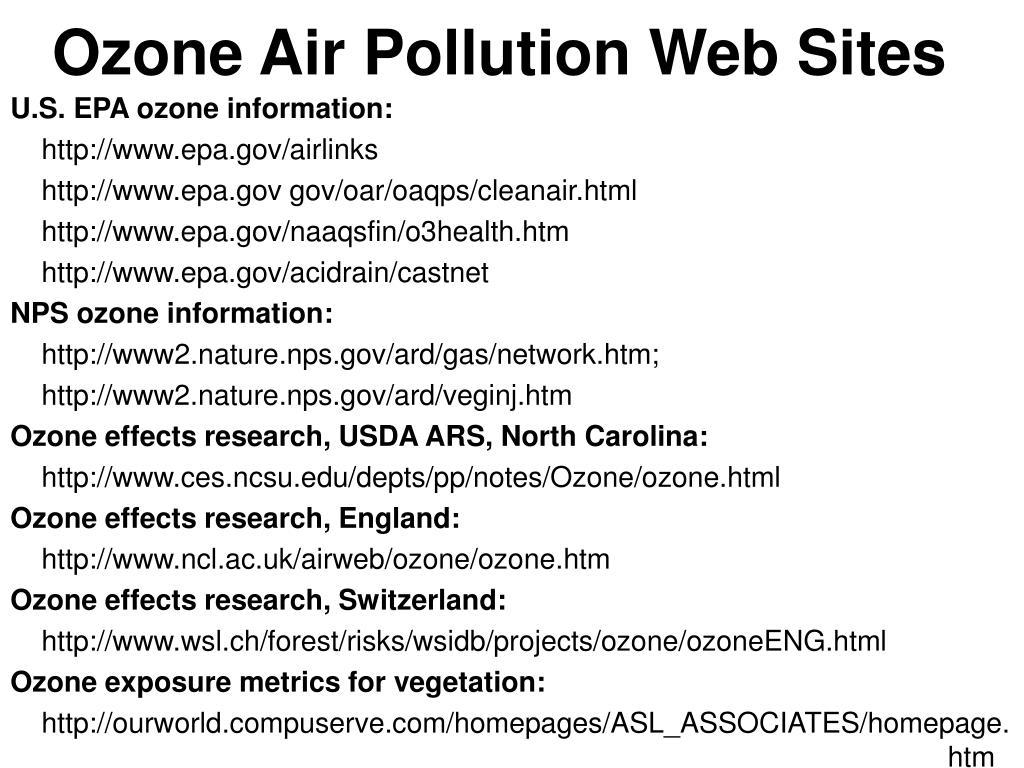Ozone Air Pollution Web Sites