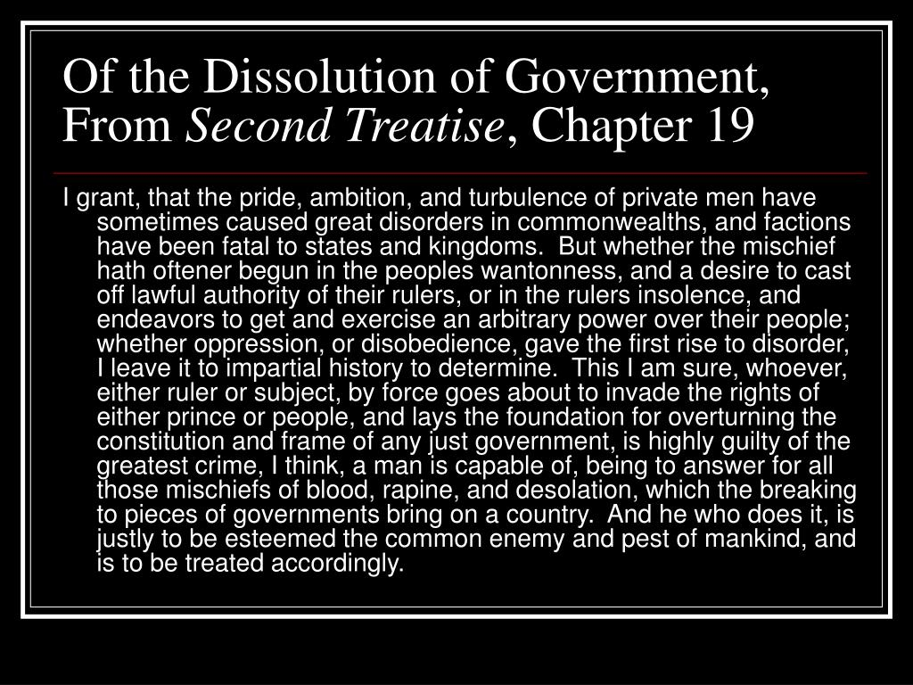 Of the Dissolution of Government, From