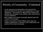 priority of community continued