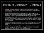 priority of community continued8