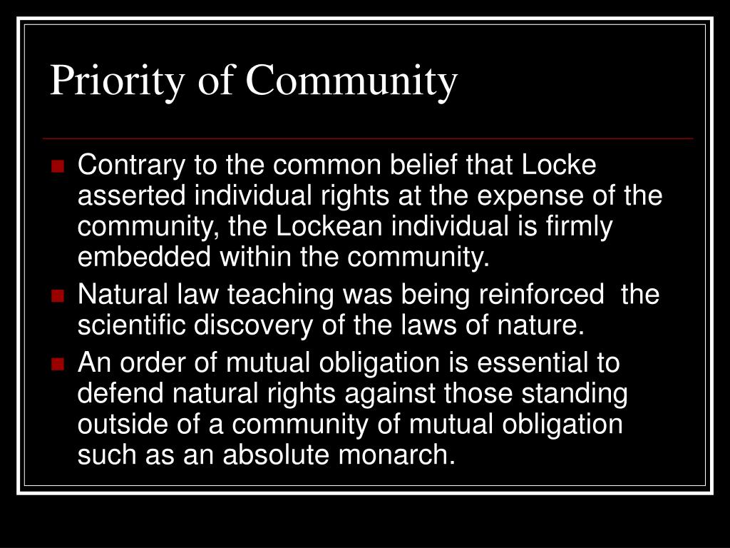 Priority of Community