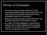 priority of community